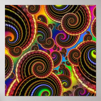 Funky Rainbow Swirl Fractal Art Pattern Poster