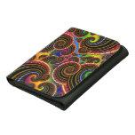 Funky Rainbow Swirl Fractal Art Pattern Leather Wallets