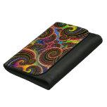 Funky Rainbow Swirl Fractal Art Pattern Leather Wallet For Women