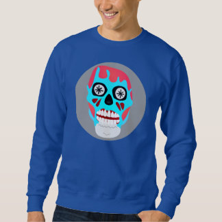 FUNKY RED AND BLUE ZOMBIE SKULL SWEATSHIRT