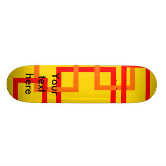Funky red and orange squares on yellow skateboards