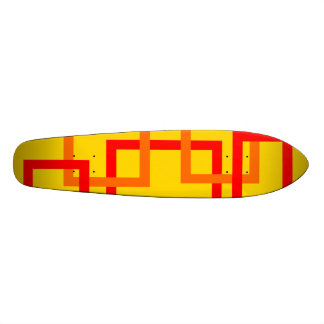 Funky red and orange squares on yellow skate boards