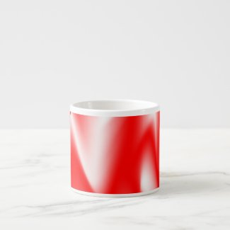 Funky Red and White Waves 6 Oz Ceramic Espresso Cup