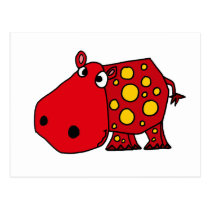 Funky Red and Yellow Hippo Art Postcard