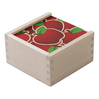 Funky red apples wooden keepsake box