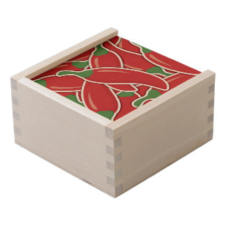Funky red chilli peppers wooden keepsake box