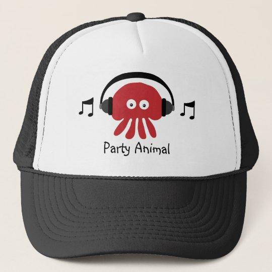 b9638dc02bc Funky Red DJ Jellyfish Party Animal Customizable Trucker Hat ...