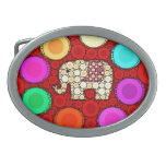 Funky Red Elephant Concentric Circles Mosaic Oval Belt Buckle