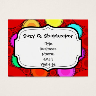 Funky Red Elephant Concentric Circles Mosaic Business Card