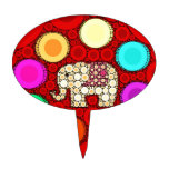 Funky Red Elephant Concentric Circles Mosaic Cake Toppers