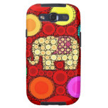 Funky Red Elephant Concentric Circles Mosaic Galaxy S3 Cover