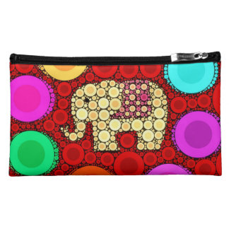Funky Red Elephant Concentric Circles Mosaic Cosmetic Bag