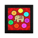 Funky Red Elephant Concentric Circles Mosaic Jewelry Box