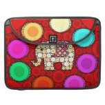 Funky Red Elephant Concentric Circles Mosaic Sleeve For MacBooks