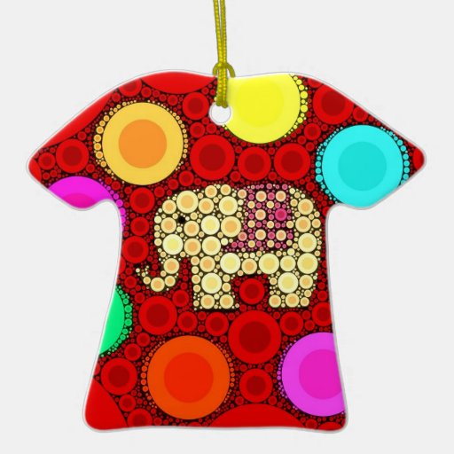 Funky Red Elephant Concentric Circles Mosaic Christmas Ornament