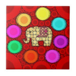 Funky Red Elephant Concentric Circles Mosaic Tiles