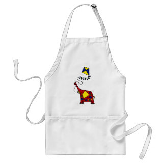 Funky Red Elephant Flying Kite Adult Apron