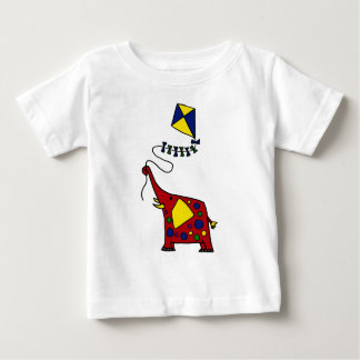 Funky Red Elephant Flying Kite Baby T-Shirt