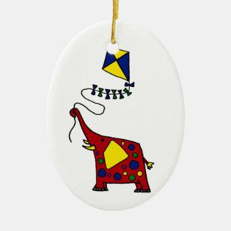 Funky Red Elephant Flying Kite Ceramic Ornament