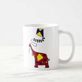 Funky Red Elephant Flying Kite Classic White Coffee Mug