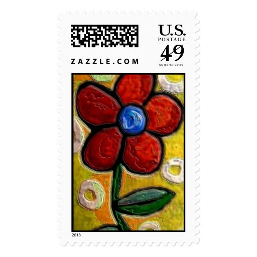 Funky Red Flower - postage stamp