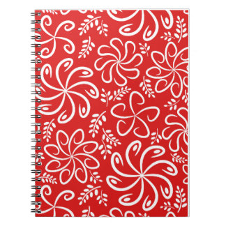 Funky red flowers and leaves Notebook