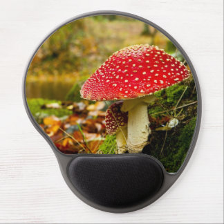 Funky Red Forest Mushroom Image Gel Mouse Pad
