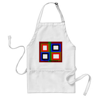 Funky red gold blue black and orange squares adult apron