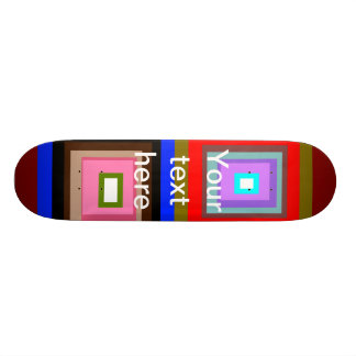 Funky red gold blue squares custom skateboard