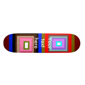 Funky red gold blue squares skate board deck