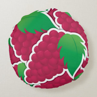 Funky red grapes round pillow