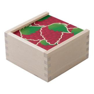 Funky red grapes wooden keepsake box
