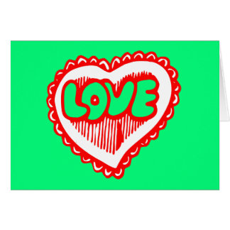 Funky Red & Green Love Heart Card