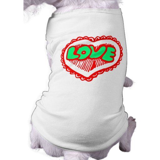 Funky Red & Green Love Heart Pet Clothing
