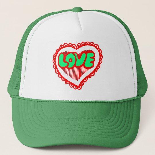 Funky Red & Green Love Heart Trucker Hat