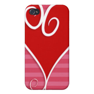 Funky Red Heart Pink  iPhone 4 Case