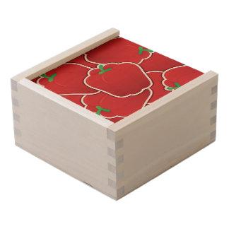 Funky red pepper wooden keepsake box