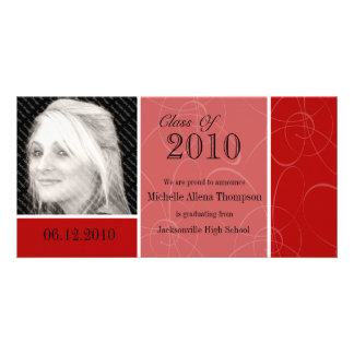Funky Red Swirl Graduation Photo Card