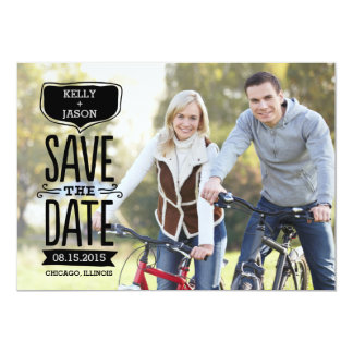 """Funky Reminder Save The Date Card Black Letters 5"""" X 7"""" Invitation Card"""