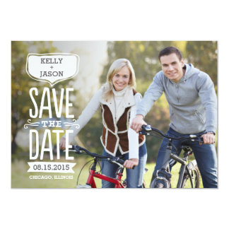 Funky Reminder Save The Date Card White Letters