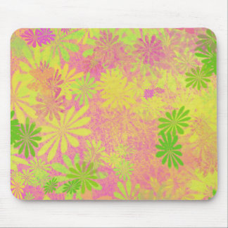 Funky Retro 60's Flowers Mouse Pads