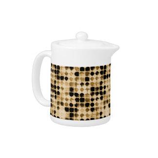 Funky Retro 70s brown pattern Teapot