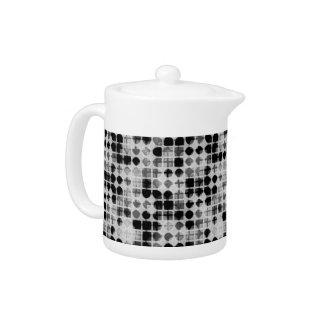 Funky Retro 70s monochrome pattern Teapot