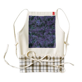 Funky Retro Abstract Charcoal Majestic Amethyst Zazzle HEART Apron