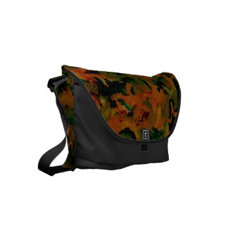 Funky Retro Abstract Tangerine Orange Green Small Messenger Bag