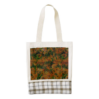 Funky Retro Abstract Tangerine Orange Green Zazzle HEART Tote Bag