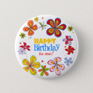 Funky Retro Big Flowers Custom Birthday Button Pin