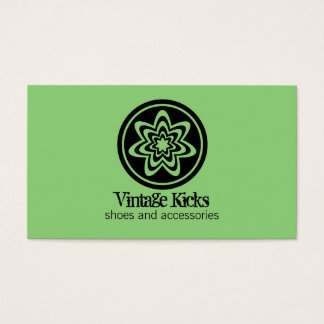 Funky Retro Bloom Business Card, Kelly Green Business Card
