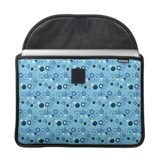 Funky Retro Bright Blue Circles Abstract Pattern MacBook Pro Sleeves