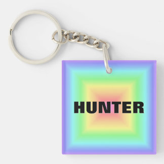 Funky Retro Bright Pastel Rainbow Abstract Blur Keychain